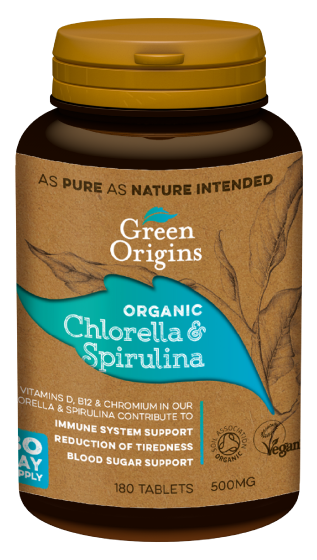 Green Origins Organic Chlorella & Spirulina Tablets 180x500mg - 6 pack