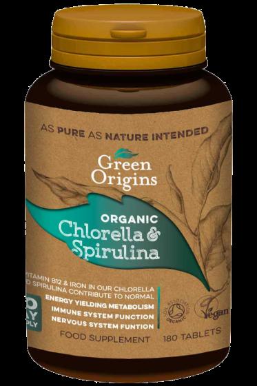 Organic Chlorella & Spirulina Tablets (180x500mg)