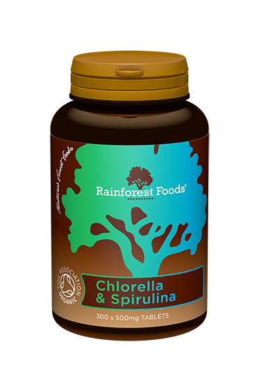 Rainforest Foods Chlorella and Spirulina Tablets 300x500mg - 6 pack