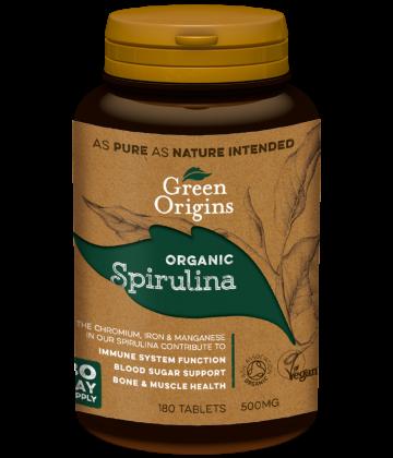 Green Origins Organic Spirulina Tablets 180x500mg - 6 pack