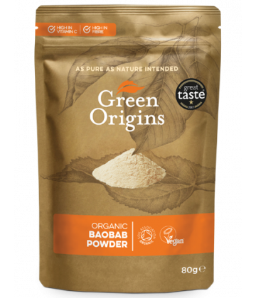 Green Origins Organic Baobab Powder (Raw) 80g - 8 pack