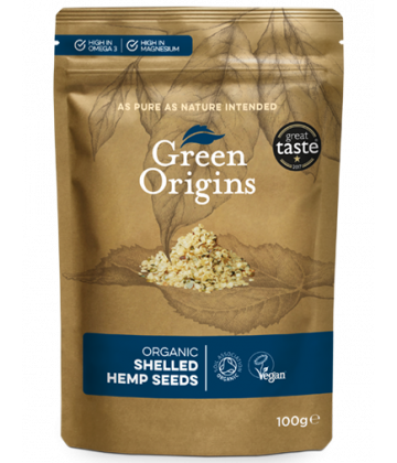 Green Origins Organic Shelled Hemp Seeds (Raw) 100g - 8 pack