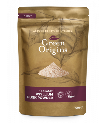 Green Origins Organic Raw Psyllium Husk Powder (99% Pure) 90g - 8 pack